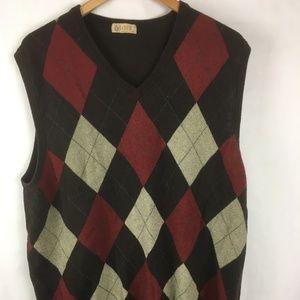 J. Crew Argyle Sweater Vest Brown XL Cashme Cotton